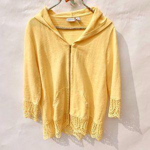 Zenergy by Chicos Cheerful Yellow Crochet Hoodie 1